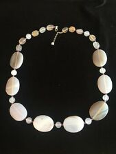 "26"" Oval White Jade Bead Necklace W/Small Purple Jade Spacers"