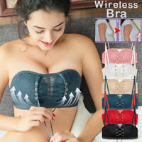 Women Lace Strapless Invisible Bra Push Up Backless Non-Slip Drawstring Bra USA