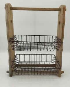 Rustic Wood and Wire Farmhouse Kitchen Storage Unit Two Tier Basket Shelves