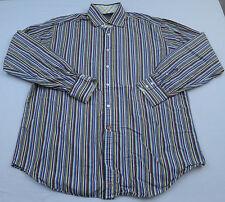 Thomas Dean Mens Striped Dress Shirt Sz XL Spread Collar Flip Cuff Casual