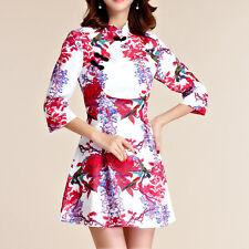 Women Oriental Style Festive Flag Dress 3/4 Sleeve AU Size 8 10 12 14 16 18 2599