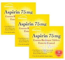 84 ASPIRIN 75mg GASTRO-RESISTANT PAIN RELIEF ENTERIC COATED - 3 PACKETS of 28!