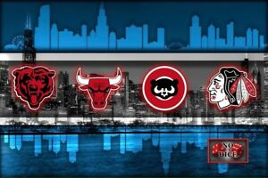 CHICAGO SPORTS TEAMS Chicago Cubs Bulls Bears Blackhawks 16x20in Free Shipping