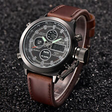 Mens Sport Military Army LED Watches Date Stainless Steel Quartz Wrist Watch NEW