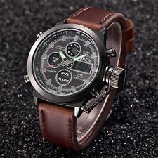 hombres Deporte Ejército LED Relojes Fecha Acero inoxidable pulsera de cuarzo