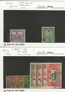 Tunisia, Postage Stamp, #B1-B2, B3//B9 Mint & Used, 1915-16, JFZ
