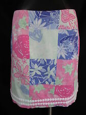 Lilly Pulitzer Skirt 10 Straight Short Skirt Patchwork Print Charming Patch Frog