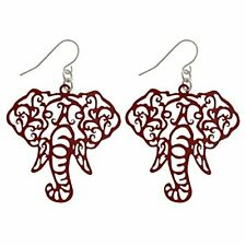 Crimson Elephant Head Filigree Fishhook Earrings