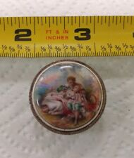 Antique 800 Silver Painted Enamel Make Up Compact Box