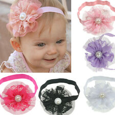 6pcs Baby Infant Girl Toddler Pearl Flower Lace Headband Headwear Hair Band Top