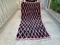 Vintage Handmade Moroccan Beni Ourain Carpet Azilal Rug Berber Tribal Rug