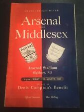 Arsenal V Middlesex 12/08/1949 Original Match Programme