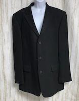 Banana Republic Mens Black Wool 3 Button Sport Coat Blazer Jacket Size 44L
