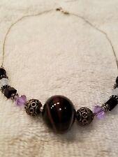 "Handcrafted Deep Purple Lampwork Bead & Swarovski Crystal Necklace S/S 16"" Lgth"