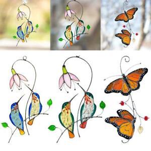 Stained Hummingbird Suncatcher Metal Birds Windows Hanging Decoration NEW
