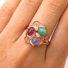 925 Sterling Rose Gold Plated Carved Ruby Emerald Tanzanite Gem Ring Size 8 3/4