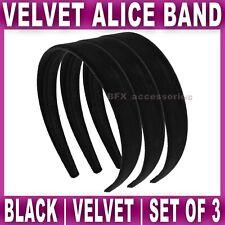 3x Velvet Alice Band 2.4cm Wide Headband Head Hair Bands Aliceband Womens Girls