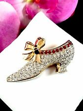 SWAROVSKI 18K GP RUBY RED PAVE CRYSTAL RHINESTONE CINDERELLA SLIPPER SHOE BROOCH
