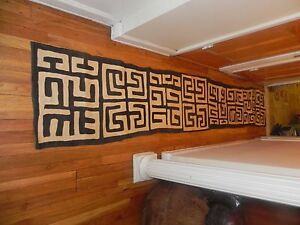 "Arts of Africa - Kuba Cloth - DRC - 21"" Wide x 120""  Long # 1 Beige & Black"