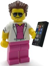 LEGO NEW TREDY BUSINESSMAN MINIFIGURE ON CELLPHONE PINK SUIT COAT AND SUNGLASSES