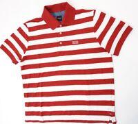 HUGO BOSS Poloshirt Polohemd Herren Gr.M rot gestreift Knopf Piquè -S1287