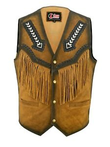 Men Tan Brown Suede Leather Western Cowboy Jacket With Fringe Native American