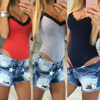 GN- Sexy Women Slim Fit V-neck Romper Stretch Bodycon Lace Patchwork Jumpsuit Co