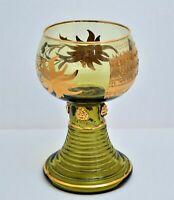 VINTAGE GERMANY HERRENCHIEMSEE GREEN GOLD GOBLET ETCHED ENCRUSTED