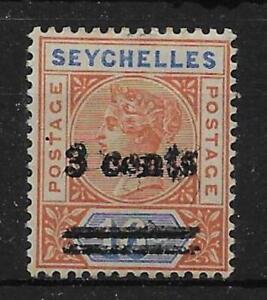SEYCHELLES SG38b 1901 3c ON 16c CHESTNUT & BLUE OVPT DOUBLE VAR MTD MINT CERT