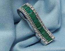 Elegant 14K Karat White Gold Effy Collection Emerald & Diamond Pendant Charm