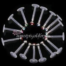 16 Pcs  Crystal Labret Monroe Lip Ring Stud BIOFLEX Bar Body Piercing Beauty
