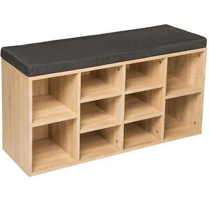 Estantería zapatero de madera con banco sólida taburete estantes calzado roble