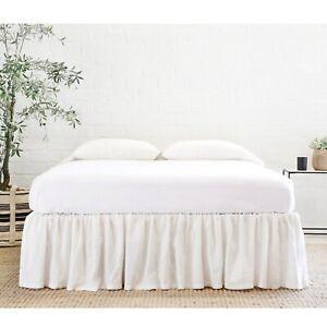 Pom Pom at Home Gathered Linen Bed Skirt Cream - King MSRP:$333.00