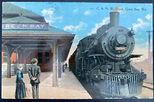 1911 Watertown USA Picture Postcard cover C & NW depot Green Bay WI