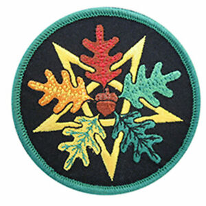 Oak Leaf Pentagram Patch Embroidered Iron-On or Sew-On Pagan Druid Wicca NEW