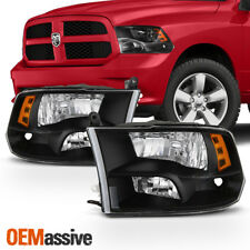 [Black] 2009-2017 Dodge Ram 1500 2010-2017 2500 3500 Quad Style Headlights Lamps