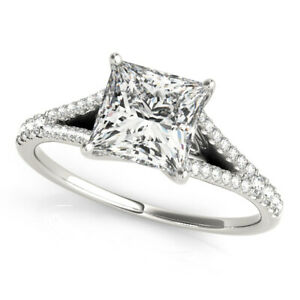 Princess Cut Diamond Valentine's Day Special Band Set Solid White Gold 1.35 Ct