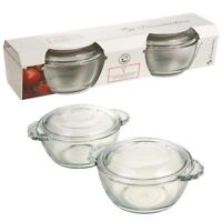 2 x Pasabahce Glass Mini Casserole Round Dish With Lid Ovenware Food Serving