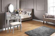 LUMBERTON DRESSING TABLE MAKEUP DESK SET 3 DRAWERS & PADDED SEAT STOOL GREY