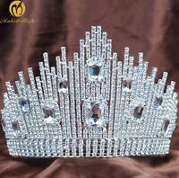 Queen Full Round Large Rhinestone Crown Wedding Bridal Pageant Prom Tiara Silver