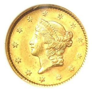 1852 Liberty Gold Dollar G$1 - Certified NGC MS61 (BU UNC) - Rare Early Coin!