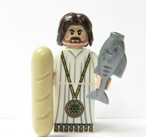 Lego Jesus Flesh  Minifigure Bread & Fish Xmas Nativity Advent Bible Religious