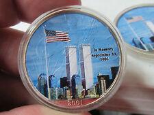 "2001 American Silver Eagle Twin Towers Tribute  ""God Bless America""  COA NICE"