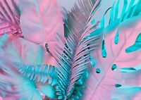 Pink Tropical Leaves Poster Size A4 / A3 Leaf Nature Art Poster Gift #14062