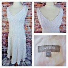 """PER UNA lined summer dress 8 bust 34"""" length 44.5"""" white panelled 100% linen M&S"""