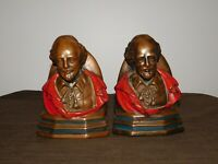 """VINTAGE  8 1/2"""" HIGH SHAKESPEARE PAINTED METAL BOOKENDS"""