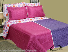 Hearts Bed in Bag Bedding Set Pink Purple Reversible Comforter Full 7Pcs #4677