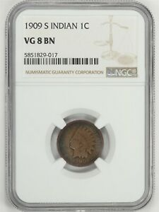1909-S Indian Head Small Cent NGC VF 8 BN JO/1162