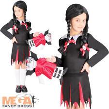 Dead School Girl Girls Halloween Fancy Dress Wednesday Addams Kids Child Costume