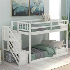 White Twin over Twin Floor Bunk Beds Wood for Kids with Ladder Bedroom Furniture